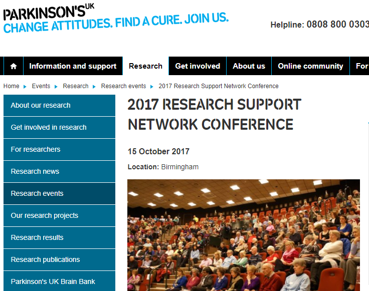 Parkinson's UK 2017 Research Support Network Conference